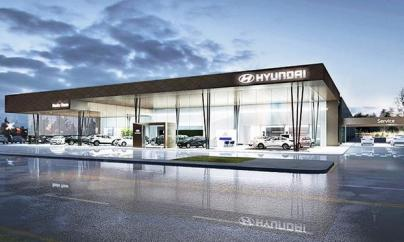 The global look for Hyundai stores includes floor to ceiling glass